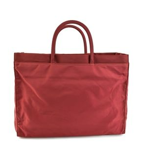 PRADA: Scarlet Red, Vela Nylon & Logo Tote Bag qx